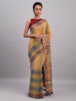 Mustard-Blue Bhujodi Kala Cotton Saree
