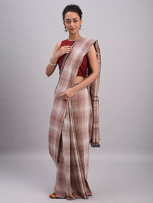 Red-White Bhujodi Kala Cotton Saree