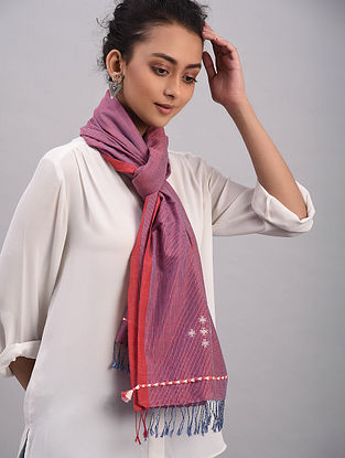 Purple Bhujodi Cotton Tussar Silk Stole