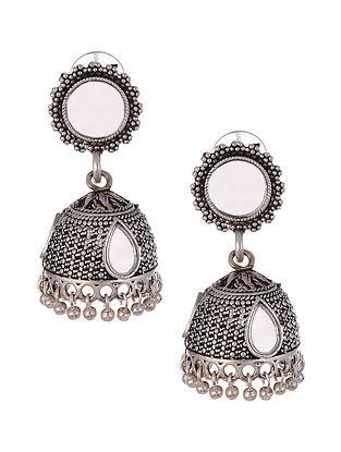White Silver Tone Tribal Jhumki Earrings