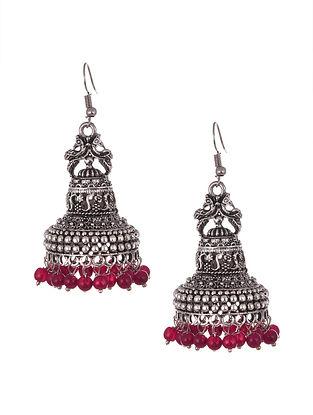Pink Silver Tone Tribal Jhumki Earrings