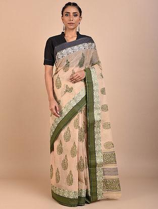 Beige-Green Block Printed Cotton Saree
