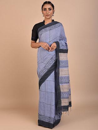 Blue-Black Block Printed Cotton Saree