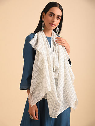 Grey Handloom  Tie and Dyed Cotton Scarf