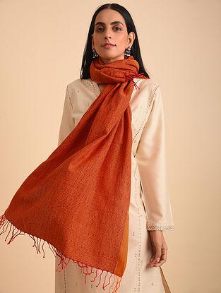 Red Handloom Jamdani Cotton Scarf