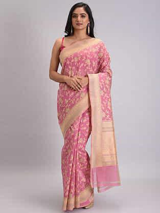 Pink-Beige Benarasi Handwoven Silk Cotton Saree