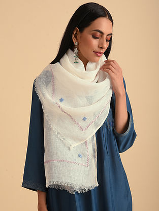 White Handloom Embroidered Linen Scarf