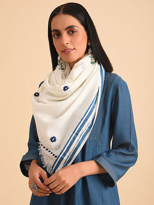 White Handloom Embroidered Cotton Scarf