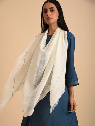 Beige Handloom Embroidered Linen Scarf