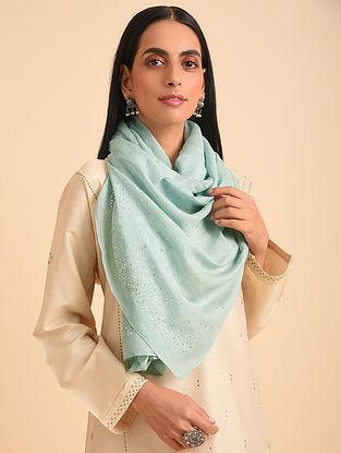 Green Handloom Embroidered Silk Cotton Scarf