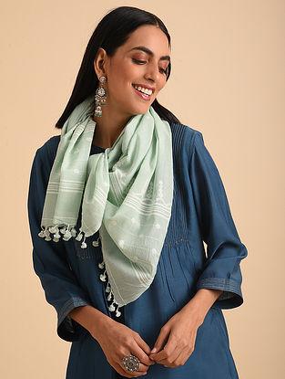 Green Handloom Jamdani Cotton Scarf