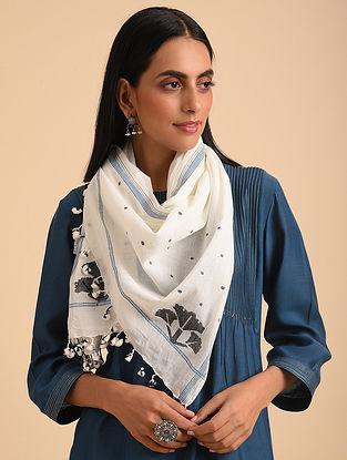 White Handloom Jamdani Cotton Scarf