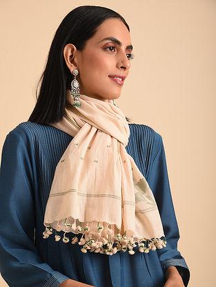 Beige Handloom Jamdani Cotton Scarf