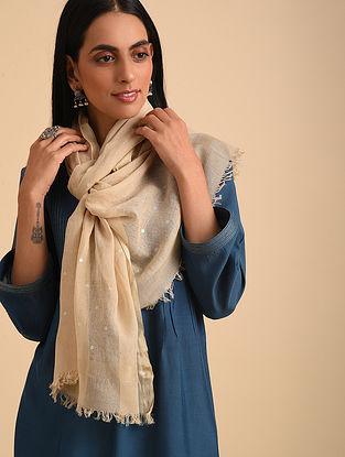 Beige Handloom Silk Cotton Scarf
