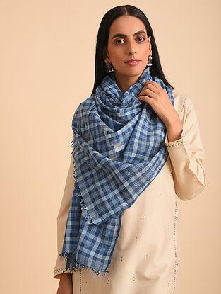 Blue Handloom Jamdani Cotton Scarf