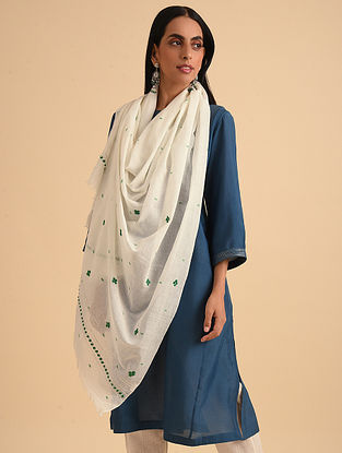 White Handloom Embroidered Jamdani Cotton Scarf