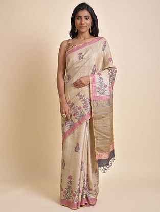 Beige-Pink Handwoven Block Printed Tussar Silk Saree