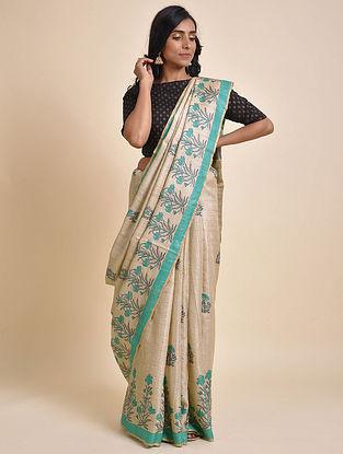 Beige-Turquoise Printed Tussar Silk Saree