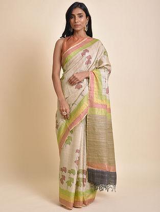 Ivory-Green Printed Tussar Silk Saree