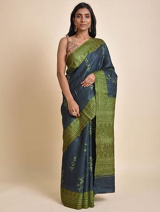 Blue-Green Block Batik Tussar Silk Saree