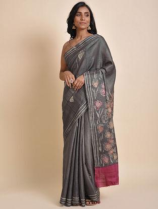 Grey Hand Batik Tussar Silk Saree