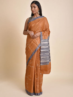 Orange-Grey Hand Batik Tussar Silk Saree