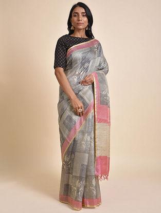Grey-Pink Printed Tussar Silk Saree