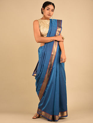 Blue Handwoven Maheshwari Silk Saree