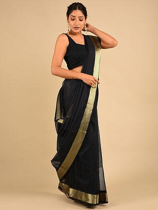 Black Handwoven Maheshwari Silk Saree