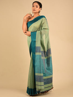 Green-Blue Handwoven Maheshwari Silk Saree