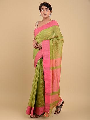 Green-Pink Handwoven Maheshwari Silk Saree