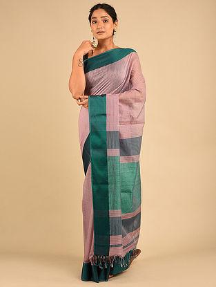 Pink-Green Handwoven Maheshwari Silk Saree