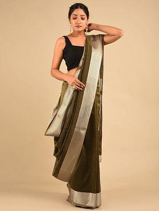 Olive Handwoven Maheshwari Silk Saree