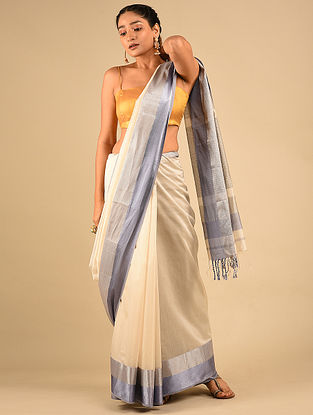 Ivory-Grey Handwoven Maheshwari Silk Saree