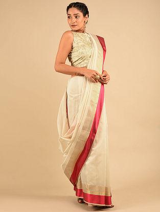 Ivory-Red Handwoven Maheshwari Silk Saree