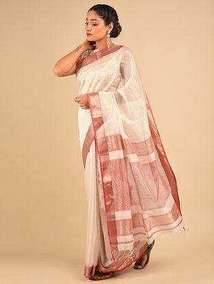 White-Red Handwoven Maheshwari Silk Saree