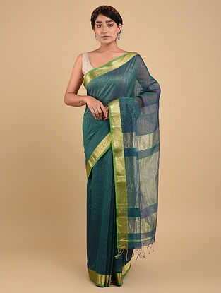 Blue-Green Handwoven Maheshwari Silk Saree