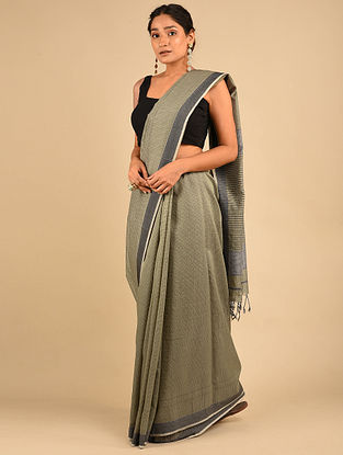 Grey Handwoven Maheshwari Silk Saree