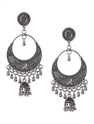 Silver Tone Tribal Chandbali Earrings