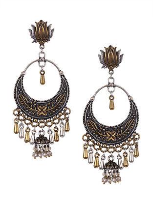 Dual Tone Tribal Chandbali Earrings