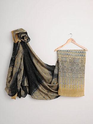 Black-Beige Ajrakh Printed Bandhani Tussar Silk Saree