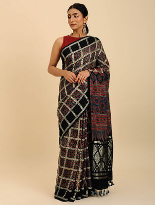 Black-Red Checkered Ajrakh Printed Modal Silk Saree