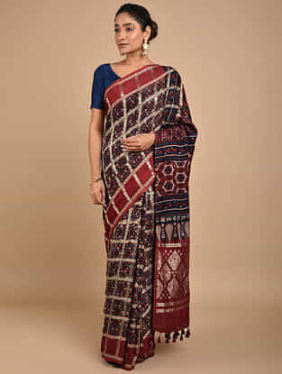 Rust-Blue Checkered Ajrakh Printed Modal Silk Saree with Zari