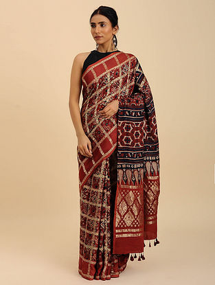 Brown-Black Checkered Ajrakh Printed Modal Silk Saree