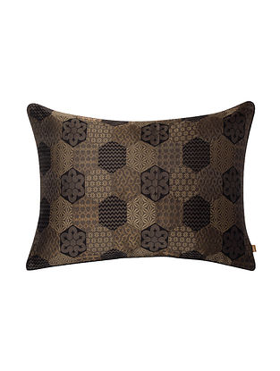 Hinto Gold and Brown Tanchoi Cushion Cover (20in x 14in)