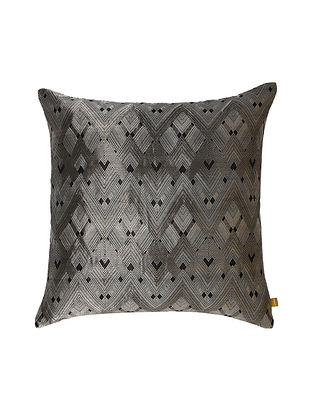 Diamond Ivory Silver Tanchoi Cushion Cover (18in x 18in)