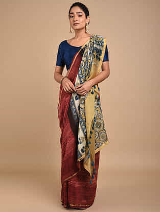 Red-Yellow Shibori Dyed Ajrakh Printed Chanderi Saree