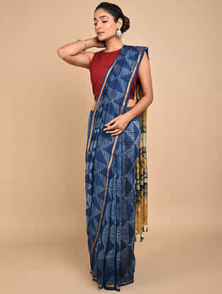 Blue Shibori Dyed Ajrakh Printed Chanderi Saree