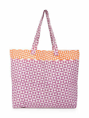 Purple Orange Handblock Printed Cotton Tote Bag