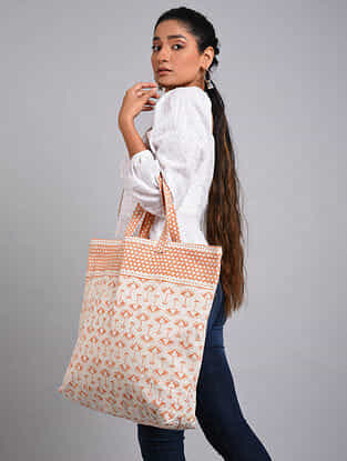 Orange White Handblock Printed Cotton Tote Bag